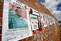 Posters for President Robert Mugabe of the Zanu PF party and Movement for Democratic Change (MDC) candidate Morgan Tsvangirai, before the 29 March 2008 General Elections...