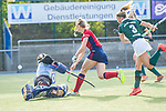 Mannheim, Germany, October 18: During the 1. Bundesliga women fieldhockey match between Mannheimer HC (red) and Uhlenhorst Muelheim (green) on October 18, 2020 at Am Neckarkanal in Mannheim, Germany. Final score 1-0 (HT 0-0). (Copyright Dirk Markgraf / www.265-images.com) *** Verena Neumann #19 of Mannheimer HC