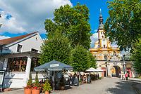 Evangelische Kirche Zum Heiligen Kreuz und Klosterschänke, Kloster Neuzelle, Neuzelle, Niederlausitz, Brandenburg, Deutschland