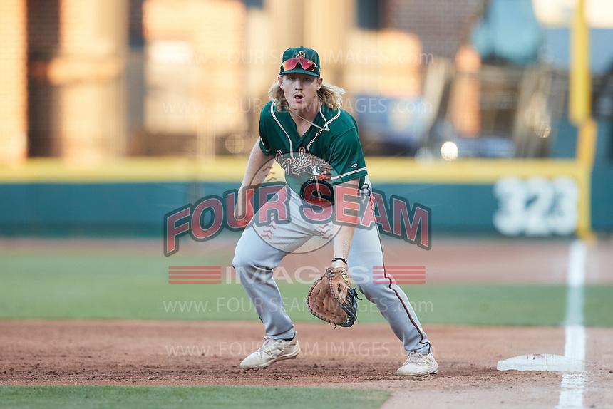 Greensboro Grasshoppers first baseman Aaron Shackelford (44) on defense against the Winston-Salem Dash at Truist Stadium on June 17, 2021 in Winston-Salem, North Carolina. (Brian Westerholt/Four Seam Images)