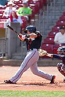 Lansing Lugnuts second baseman Christian Lopes #14 bats during a game against the Cedar Rapids Kernels at Veterans Memorial Stadium on April 30, 2013 in Cedar Rapids, Iowa. (Brace Hemmelgarn/Four Seam Images)