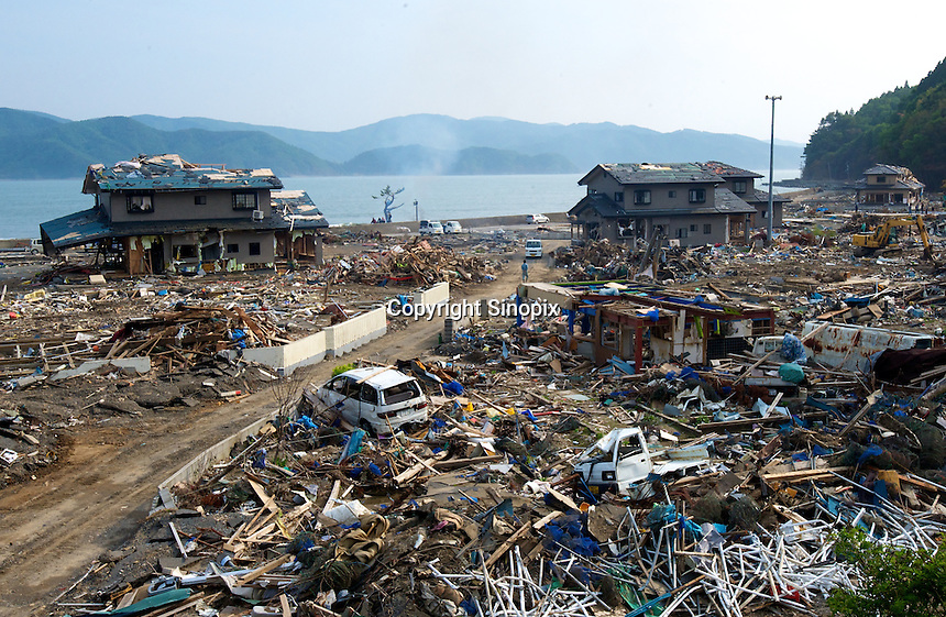 The remote coastal area close to Ishihama and north of Minamisanriku, Miyagi Japan. Little has been cleared from the coastal ares away from the cities. One of the biggest earthquakes ever recorded struck off the coast of Japan on 11 Mar 2011 had killed thousands of people and thosands are still missing. <br /> 01 Jun 2011