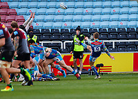 13th February 2021; Twickenham Stoop, London, England; English Premiership Rugby, Harlequins versus Leicester Tigers; Jack Van Poortvliet of Leicester Tigers clearing with a box kick in an attack