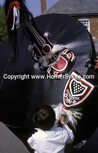 Padstow Hobby Horse, Padstow Cornwall. 1970s. UK<br /> <br /> The Old Oss