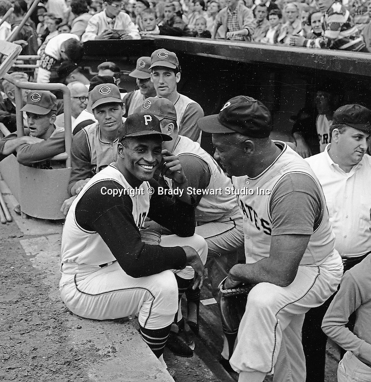 Pittsburgh PA:  Roberto Clemente at the HYPO charity baseball game with the Cleveland Indians.  The money raised by HYPO (Help Young Players Organize) was used to help local communities buy equipment and build ball fields
