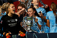 1st November 2020; Wembley Stadium, London, England; Womens FA Cup Final Football, Everton Womens versus Manchester City Womens; Georgia Stanway of Manchester City Women lifts the Womens FA Cup Final Trophy