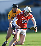 Cathal Malone of Clare in action against Eoin Murphy of Cork during their Munster Hurling League game at Cusack Park. Photograph by John Kelly.