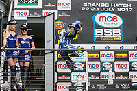 Christian Iddon of the Tyco BMW team (No. 24) celebrates third place in race to of the 2017 BSB Round 6 - Brands Hatch GP Circuit at Brands Hatch, Longfield, England on Sunday 23 July 2017. Photo by David Horn/PRiME Media Images