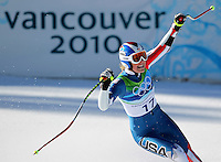 USA's Lindsey Vonn posts the fastest time after crossing the finish line in the ladies' super-G at the XXI Olympic Winter Games Saturday, February 20, 2010 in Whistler, British Columbia.  Her time held up to win the bronze medal.