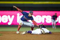 Joel Booker (3) of the Winston-Salem Dash steals second base ahead of the tag from Salem Red Sox shortstop Santiago Espinal (5) at BB&T Ballpark on April 20, 2018 in Winston-Salem, North Carolina.  The Red Sox defeated the Dash 10-3.  (Brian Westerholt/Four Seam Images)