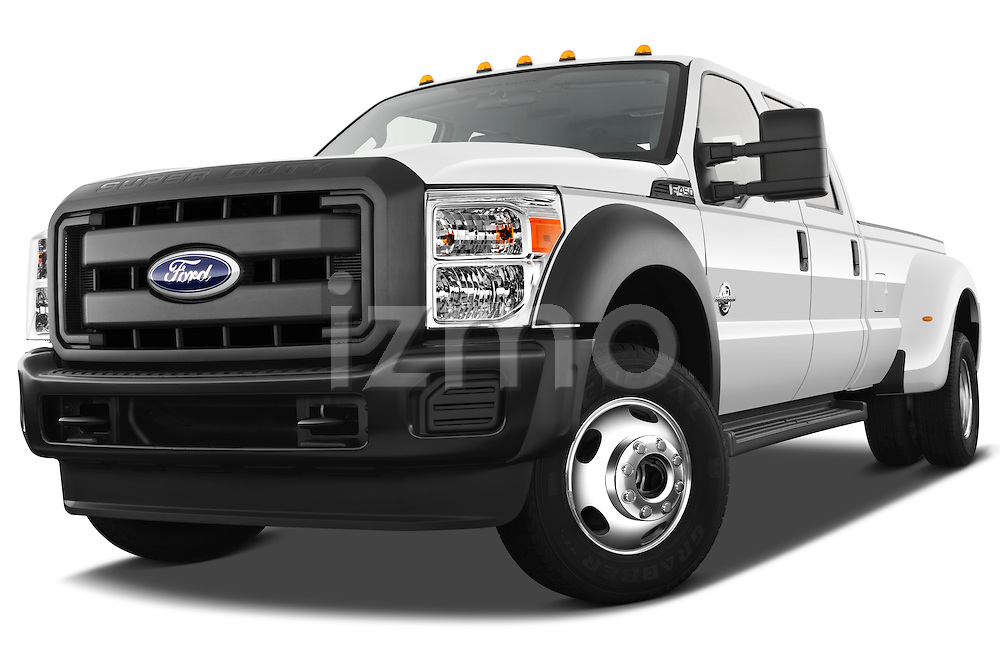 Low aggressive front three quarter view of a 2011 Ford F450 Crew Cab.