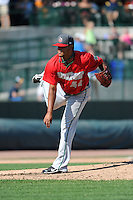 Fort Wayne TinCaps pitchr Ruben Mejia (34) during a game against the Great Lakes Loons on August 18, 2013 at Dow Diamond in Midland, Michigan.  Fort Wayne defeated Great Lakes 4-3.  (Mike Janes/Four Seam Images)