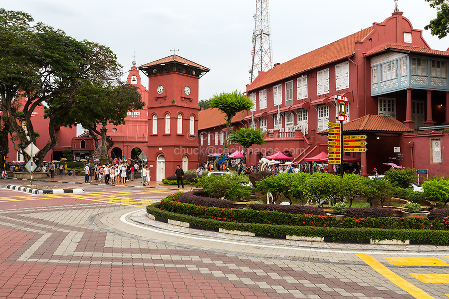 Stadthuys on right, Former Dutch Governor's Residence and Town Hall, Built 1650.  Melaka, Malaysia.