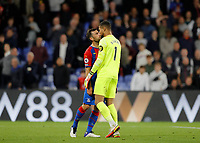 27th September 2021;  Selhurst Park, Crystal Palace, London, England; Premier League football, Crystal Palace versus Brighton & Hove Albion: James McArthur of Crystal Palace tussles with Goalkeeper Robert Sanchez of Brighton after the final whistle