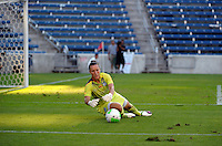 Red Stars goalkeeper Jillian Loyden (1) makes a save.  The FC Gold Pride defeated the Chicago Red Stars 3-2 at Toyota Park in Bridgeview, IL on August 22, 2010