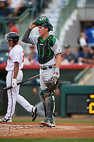 Daytona Tortugas catcher Tyler Stephenson (30) waits as Jared James (19) walks to the plate during a game against the Florida Fire Frogs on April 7, 2018 at Osceola County Stadium in Kissimmee, Florida.  Daytona defeated Florida 4-3 in a six inning rain shortened game.  (Mike Janes/Four Seam Images)