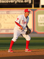 Reading Phillies shortstop Troy Hanzawa #2 during a game against the New Hampshire Fisher Cats at FirstEnergy Stadium on April 10, 2012 in Reading, Pennsylvania.  New Hampshire defeated Reading 3-2.  (Mike Janes/Four Seam Images)
