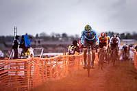 Thibau Nys (BEL) leading the race <br /> <br /> Men's Junior race<br /> UCI 2020 Cyclocross World Championships<br /> Dübendorf / Switzerland<br /> <br /> ©kramon
