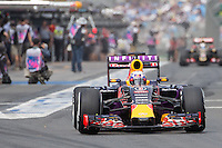 March 14, 2015: Daniel Ricciardo (AUS) #3 from the Infiniti Red Bull Racing team leaves the pits for practise three at the 2015 Australian Formula One Grand Prix at Albert Park, Melbourne, Australia. Photo Sydney Low