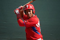 Philadelphia Phillies Luis Encarnacion (22) during an instructional league game against the Toronto Blue Jays on October 3, 2015 at the Carpenter Complex in Clearwater, Florida.  (Mike Janes/Four Seam Images)