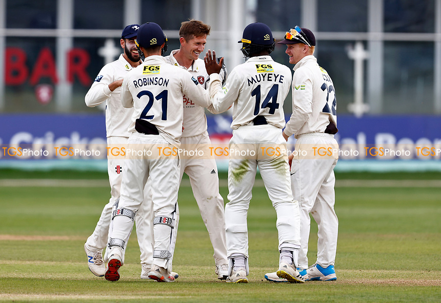 Joe Denly (C) of Kent is mobbed after taking the wicket of Nathan  Buck during Kent CCC vs Northamptonshire CCC, LV Insurance County Championship Group 3 Cricket at The Spitfire Ground on 6th June 2021