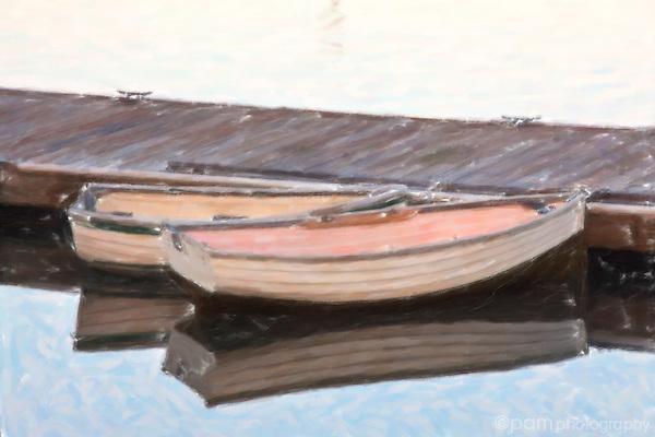 Artistic interpretation of two row boats on the bay