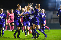 Laura De Neve (8) of Anderlecht pictured celebrating with teammates after scoring a goal during a female soccer game between RSC Anderlecht Dames and Sporting Charleroi on the 13 th matchday of the 2020 - 2021 season of Belgian Womens Super League , friday 5 th of February 2021  in Tubize , Belgium . PHOTO SPORTPIX.BE | SPP | DAVID CATRY