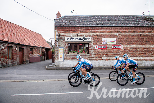 passage in Troisville<br /> <br /> reconnaissance of the (delayed, due to the Covid19 pandemic) Paris-Roubaix course by Team Israel - StartUp Nation <br /> <br /> Nord-Pas de Calais region (FRA), 17 july 2020<br /> ©kramon