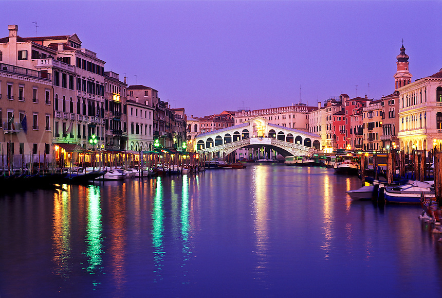 Italy, Venice, View of the Grand Canal and the Rialto Bridge at dusk