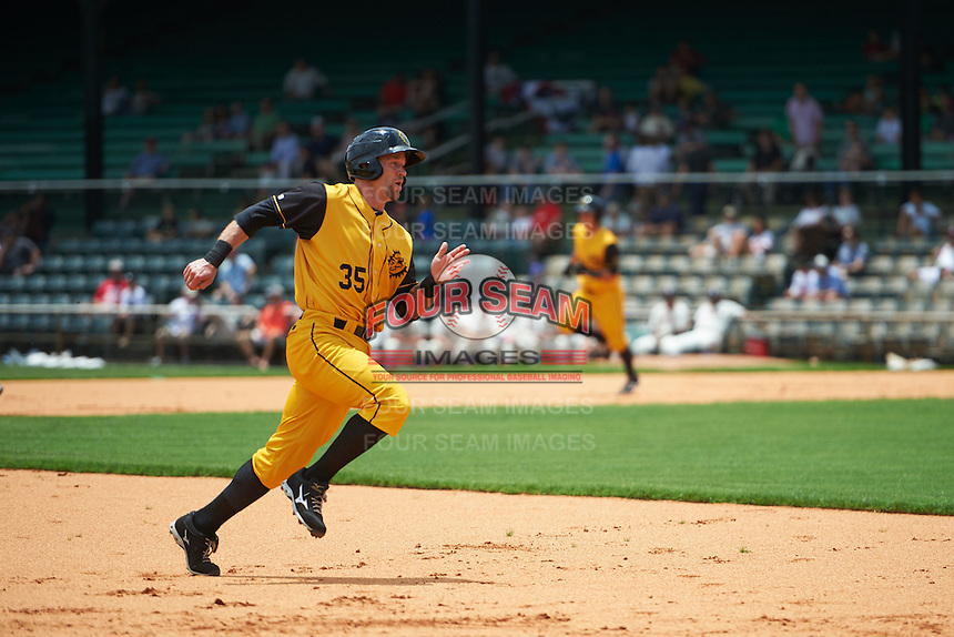 Jacksonville Suns first baseman David Adams (35) running the bases during the 20th Annual Rickwood Classic Game against the Birmingham Barons on May 27, 2015 at Rickwood Field in Birmingham, Alabama.  Jacksonville defeated Birmingham by the score of 8-2 at the countries oldest ballpark, Rickwood opened in 1910 and has been most notably the home of the Birmingham Barons of the Southern League and Birmingham Black Barons of the Negro League.  (Mike Janes/Four Seam Images)