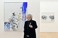 London, UK - 14 October 2020<br /> British artist Maggi Hambling with (L) Self Portrait, working, 2020 and (R) Arguing, 2019, at her new exhibition at Marlborough Gallery, where she has a solo exhibition to coinciding with her 75th birthday, featuring recent paintings responding to the seismic events of the present, works include a new series of self-portraits created in lockdown, a series depicting wild animals facing threat and intimate portraits of people laughing.<br /> CAP/JOR<br /> ©JOR/Capital Pictures