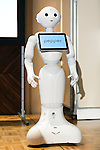 SoftBank robot Pepper attends a press conference to announce the new service Pepper for Biz 2.0 on July 20, 2016, Tokyo, Japan. Yoshida along with other guests spoke about the new features of Pepper such as Chinese response and speech recognition, and duty free tax refunds and electronic payments services, in response to business needs. The presentation was held a day before the start of Pepper World 2016 exhibition, where developers will introduce applications for SoftBank's robot Pepper. Pepper World will run until July 22. (Photo by Rodrigo Reyes Marin/AFLO)