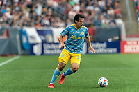 FOXBOROUGH, MA - AUGUST 8: Ilsinho #25 of Philadelphia Union dribbles down the wing during a game between Philadelphia Union and New England Revolution at Gillette Stadium on August 8, 2021 in Foxborough, Massachusetts.