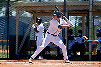 Detroit Tigers Colt Keith (4) bats during a Minor League Spring Training game against the Toronto Blue Jays on April 22, 2021 at Tigertown in Lakeland, Florida.  (Mike Janes/Four Seam Images)