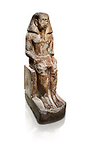 Ancient Egyptian statue of Wahka son of Neferhoptep, Middle Kingdom, 13th Dynasty, (1760 BC), Qaw el-Kebir, Tomb 7. Egyptian Museum, Turin. white background,<br /> <br /> This exceptional example of a private sculpture depicts a provincial official in almost Royal size and attitude. It was found inside the largest funerary chapel in Qaw el-Kebir, built of governor Wahka II around 1850 BC, The style indicates a date about a century later at a time when local governors did not build large tombs anymore. The statue was therefore installed by another Wahka into his ancestors chapel to keep the memory of his glorious lineage alive. Schiapelli excavations Cat 4265.