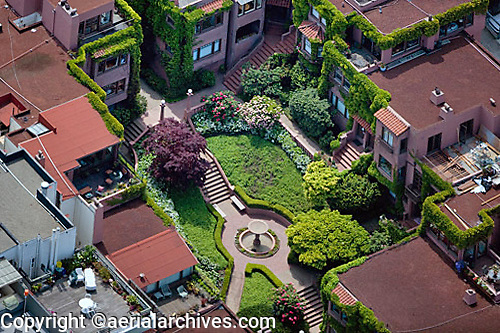 aerial photograph of a courtyard with stairs in Pacific Heights, San Francisco, California