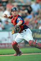 Lowell Spinners catcher J.T. Watkins #21 during a game versus the Hudson Valley Renegades at LeLacheur Park in Lowell, Massachusetts on August 19, 2012. (Ken Babbitt/Four Seam Images)