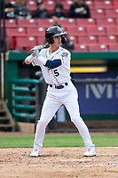 Kane County Cougars shortstop Blaze Alexander (5) during a Midwest League game against the Cedar Rapids Kernels at Northwestern Medicine Field on April 28, 2019 in Geneva, Illinois. Kane County defeated Cedar Rapids 3-2 in game one of a doubleheader. (Zachary Lucy/Four Seam Images)