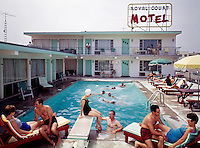 Couples by the pool of the Royal Court Motel in Wildwood, NJ. 1960's photograph