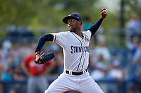 Charlotte Stone Crabs starting pitcher Resly Linares (17) during a Florida State League game against the Fort Myers Miracle on April 6, 2019 at Charlotte Sports Park in Port Charlotte, Florida.  Fort Myers defeated Charlotte 7-4.  (Mike Janes/Four Seam Images)