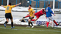Thistle's Kris Doolan start his celebration even before Cowdenbeath keeper Colin Stewart hits the ground after he scores their second goal.