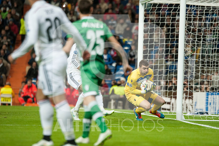 Stoyanov of Ludogorets during Champions League match between Real Madrid and Ludogorets at Santiago Bernabeu Stadium in Madrid, Spain. December 09, 2014. (ALTERPHOTOS/Luis Fernandez)
