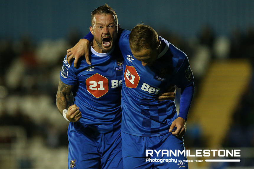 Sander Puri of Waterford celebrates after scoring a goal with Noel Hunt during the SSE Airtricity League Premier Division game between Waterford FC and Bray Wanderers on Friday 14th September 2018 at the RSC, Waterford. Photo By Michael P Ryan