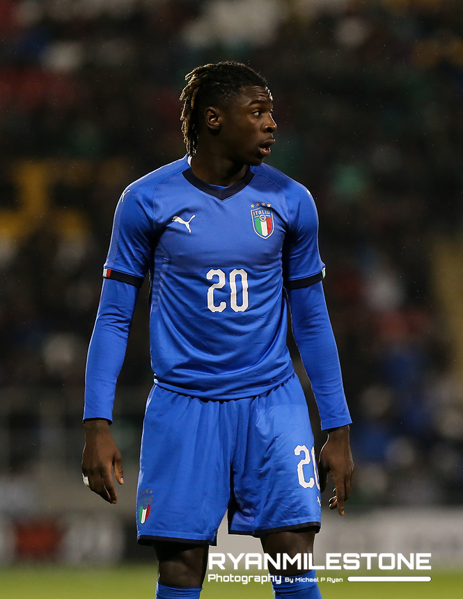 EVENT:<br /> UEFA European U21 Championship Qualifier Group 1 Republic of Ireland v Italy<br /> Thursday 10th October 2019,<br /> Tallaght Stadium, Dublin<br /> <br /> CAPTION:<br /> Moise Kean of of Italy<br /> <br /> Photo By: Michael P Ryan