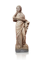 Roman statue of women. Perge. 2nd century AD. inv 3270 . Antalya Archaeology Museum; Turkey. Against a white background.