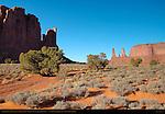 Rain God Mesa, Three Sisters and Mitchell Mesa, Monument Valley Navajo Tribal Park, Navajo Nation Reservation, Utah/Arizona Border