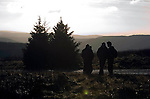 Rally fans on the Resolven stage  of the Wales Rally GB in the forests of South Wales this afternoon..