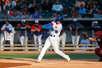 Tennessee Smokies second baseman Carlos Sepulveda (27) at bat against the Chattanooga Lookouts at Smokies Stadium on June 18, 2021, in Kodak, Tennessee. (Danny Parker/Four Seam Images)