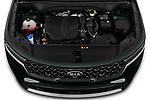 Car Stock 2021 KIA Sorento SX 5 Door SUV Engine  high angle detail view