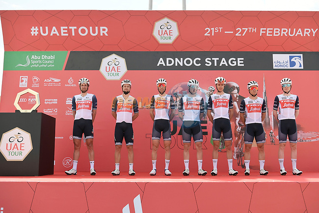 Trek-Segafredo at sign on before the start of Stage 1 of the 2021 UAE Tour the ADNOC Stage running 176km from Al Dhafra Castle to Al Mirfa, Abu Dhabi, UAE. 21st February 2021.  <br /> Picture: LaPresse/Fabio Ferrari | Cyclefile<br /> <br /> All photos usage must carry mandatory copyright credit (© Cyclefile | LaPresse/Fabio Ferrari)